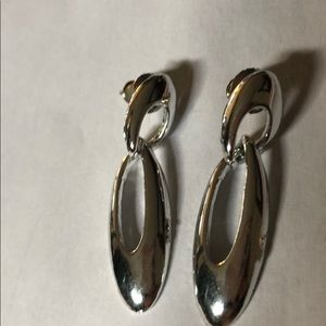 *2 for $10* Elegant silver colored oval earrings